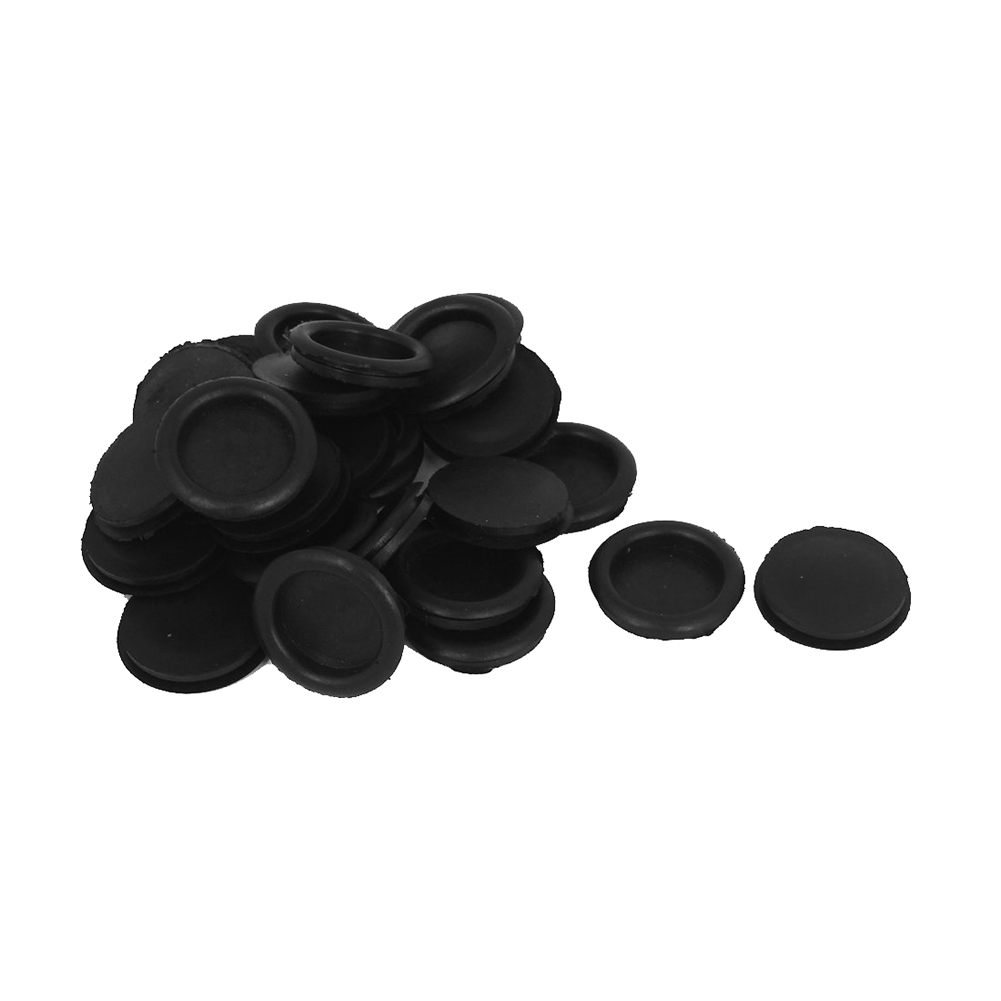 30pcs Rubber Closed Blanking Hole Wire Cable Grommets 32mm Black