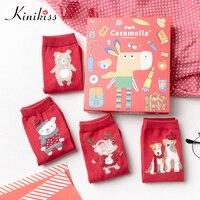 Kinikiss Women Christmas 4 Pairs Socks Winter Carton Cute Warm Thick Socks Solid Red Socks Female