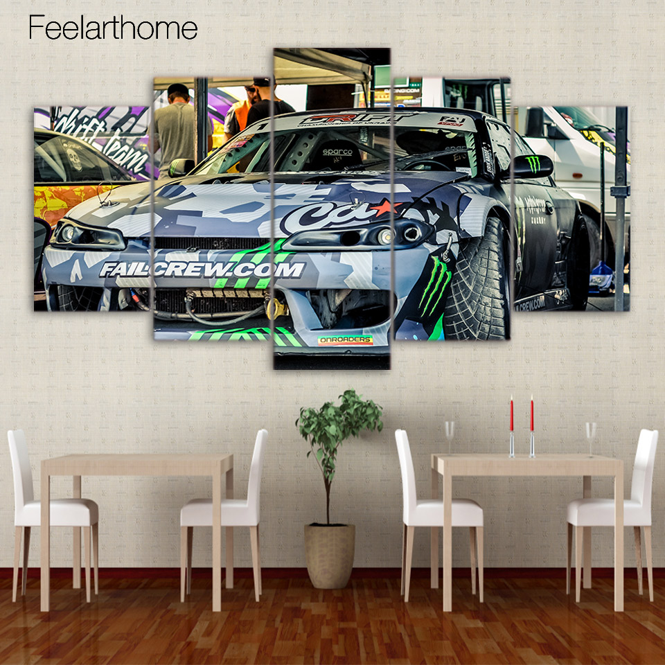 Graffiti art for sale canada - 5 Piece Canvas Painting Sports Car Graffiti Art Hd Posters And Prints Canvas Painting For Living