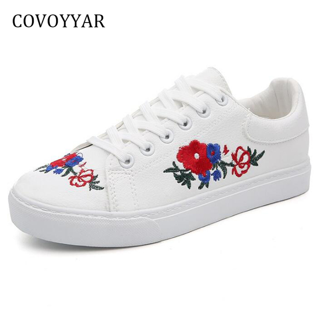 Covoyyar 2018 embroidered flowers womens sneakers spring autumn lace up ladies flats casual white shoes for student wsn184 in womens vulcanize shoes covoyyar 2018 embroidered flowers womens sneakers spring autumn lace up ladies flats casual white shoes fo