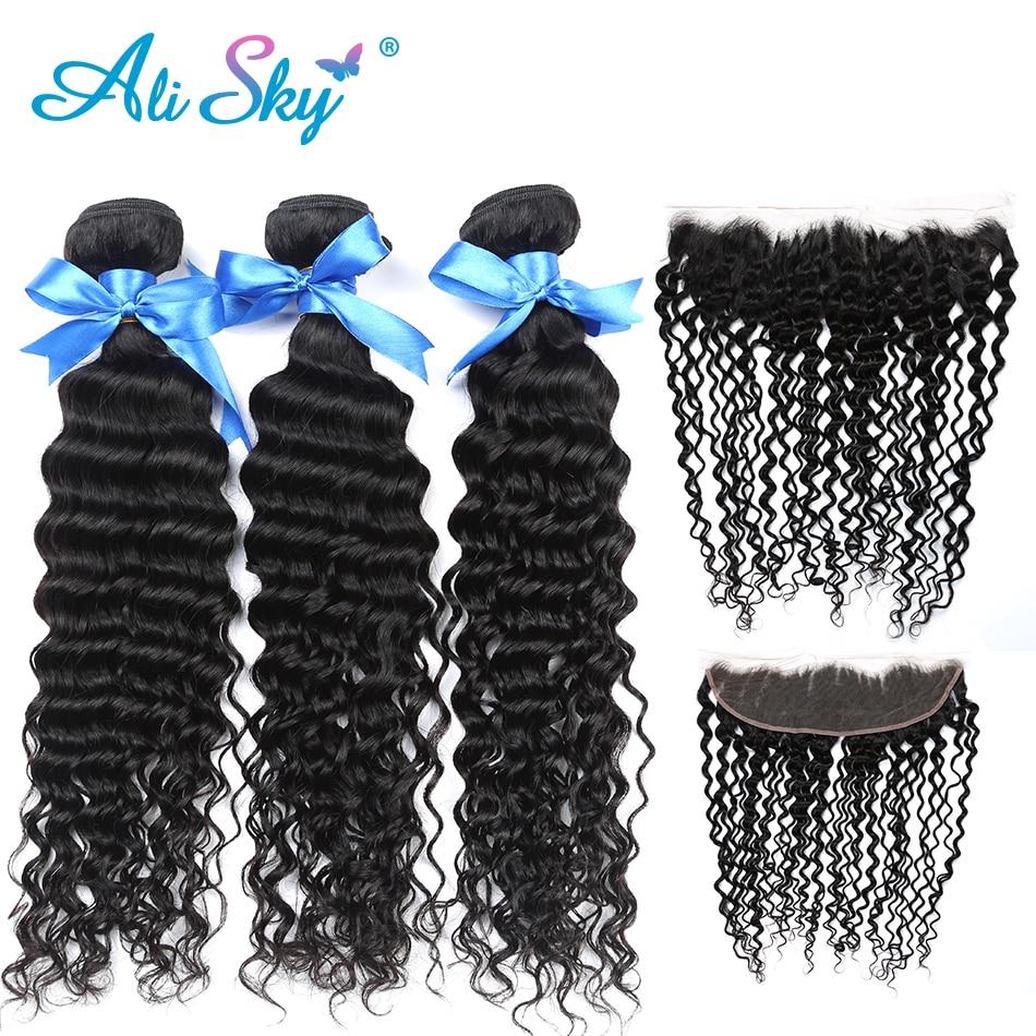 Alisky Hair Ear To Ear Lace Frontal Closure Indian hair Deep curly bundles pre plucked 4