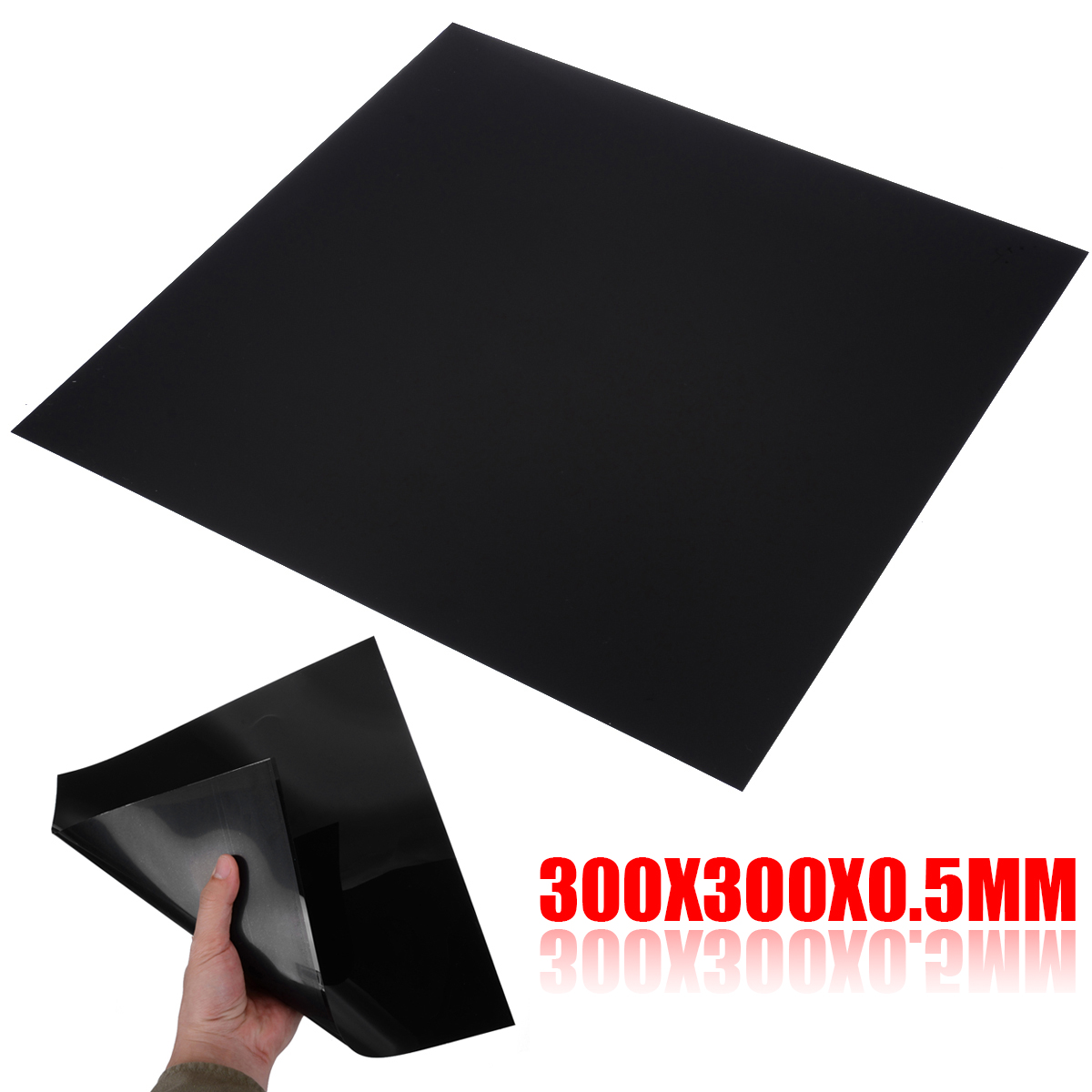 1pc High Quality ABS Plastic Sheet 300*300*0.5mm Flexible Smooth Back Black Sheet Piecefor Car Audio Installation Parts