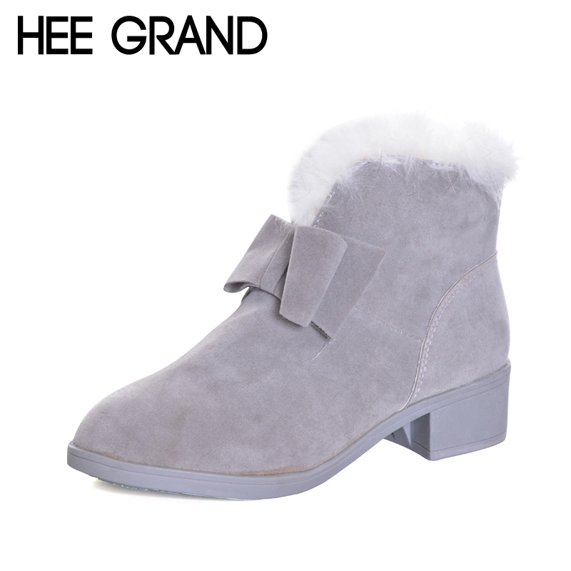 HEE GRAND 2017 New Faux Fur Winter Bowtie Women Ankle Boots Faux Fur Creepers Casual Shoes Woman Women Flats Zip Shoes XWX6068 hee grand 2017 bowtie slippers platform sweet solid slides summer casual flats shoes woman slip on creepers xwt851