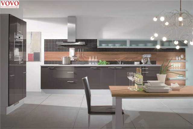 Alto brillo Gabinete de la cocina gris en Gabinetes de cocina de ...