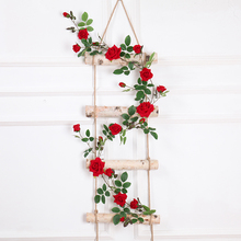Artificial Flower Garland rose flower for wedding decoration Fake Hanging Roses string plastic vine Wall home Decor