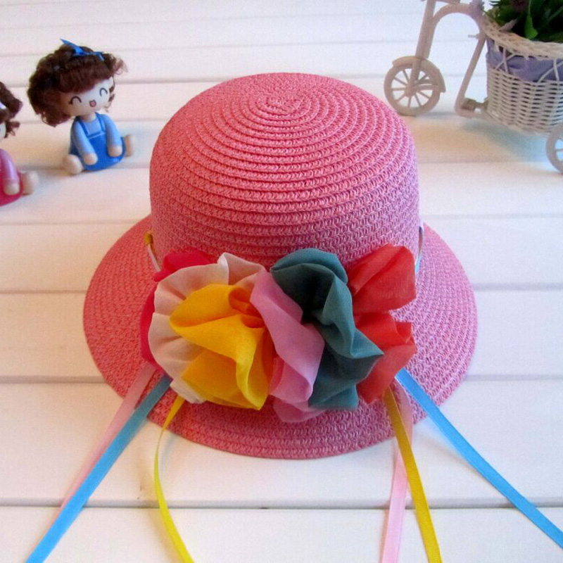 1 Pcs Gentlewoman Big Flower Ribbon Chidren Bucket Hats Spring Summer Fashion Parent-child Caps Sun Hats For Women Girl