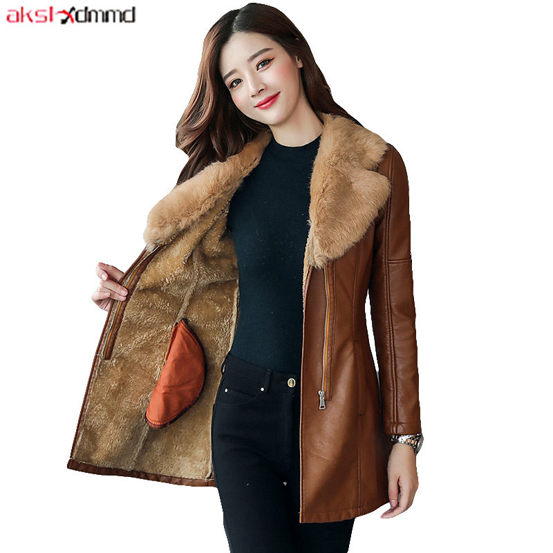 2019 New Women Autumn   Leather   Jacket Slim Vintage Fur Collar Coat Slim Winter Warm Outer Mom's Clothing Elegant Cacaso AC272