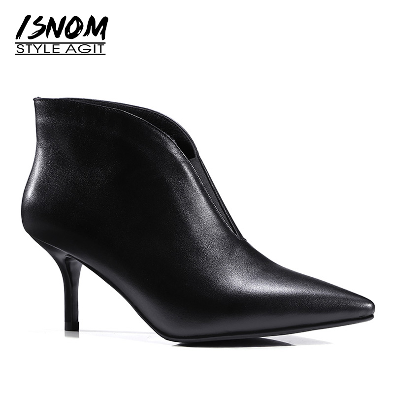 ISNOM New 2019 Genuine Leather Ankle Boots Women Thin Heels Shoes Pointed toe Slip on Footwear