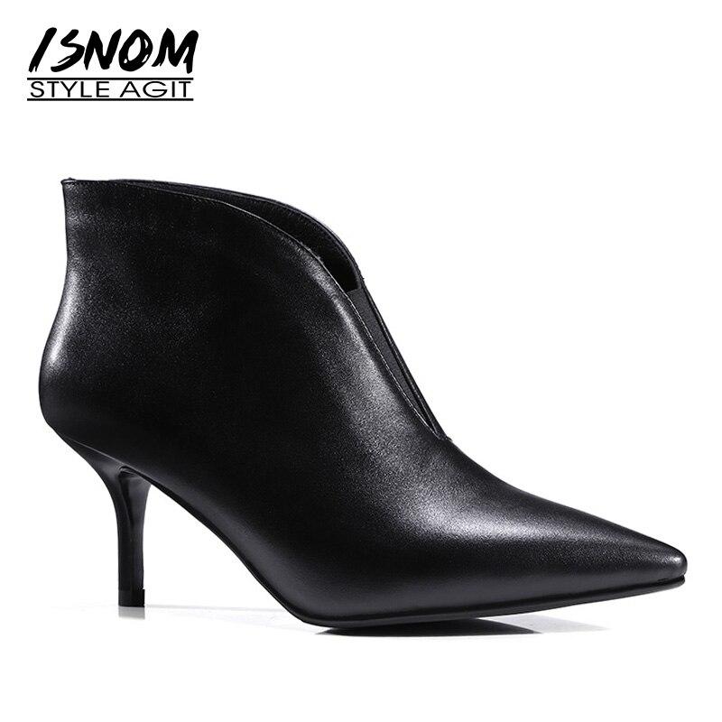 Nuevas botas de tobillo de cuero genuino de 2019 para mujer, zapatos de tacón fino, zapatos de punta estrecha, calzado, botas de otoño para mujer zapatos OL-in Botas hasta el tobillo from zapatos    1