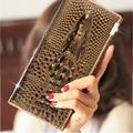 Three Folding Wallet 2016 Ladies Wallet Purse Holder Brand Original 3D Embossed Crocodile Crocodile Lady Long Wallet Purse Femme