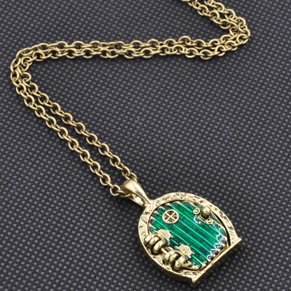 Nice Charm Retro Alloy Green Door Lock Pendant Long Chain Necklace ...