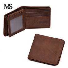 MS 2017 New Genuine Crazy Horse Cowhide Leather Men Wallet Short Vintage Brand High Quality Designer TW1663-1