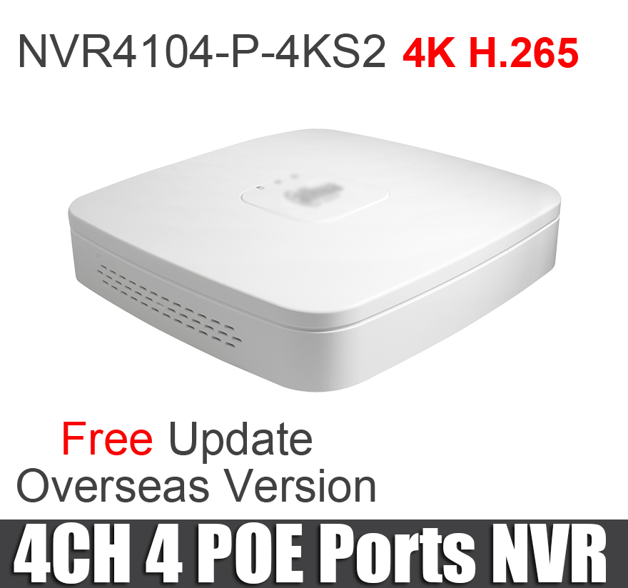Dahua poe nvr NVR4104 P 4KS2 NVR4108 P 4KS2 4ch 8ch Smart 1U Mini NVR 1080P NVR with 4 POE Ports network video recorder-in Surveillance Video Recorder from Security & Protection    3