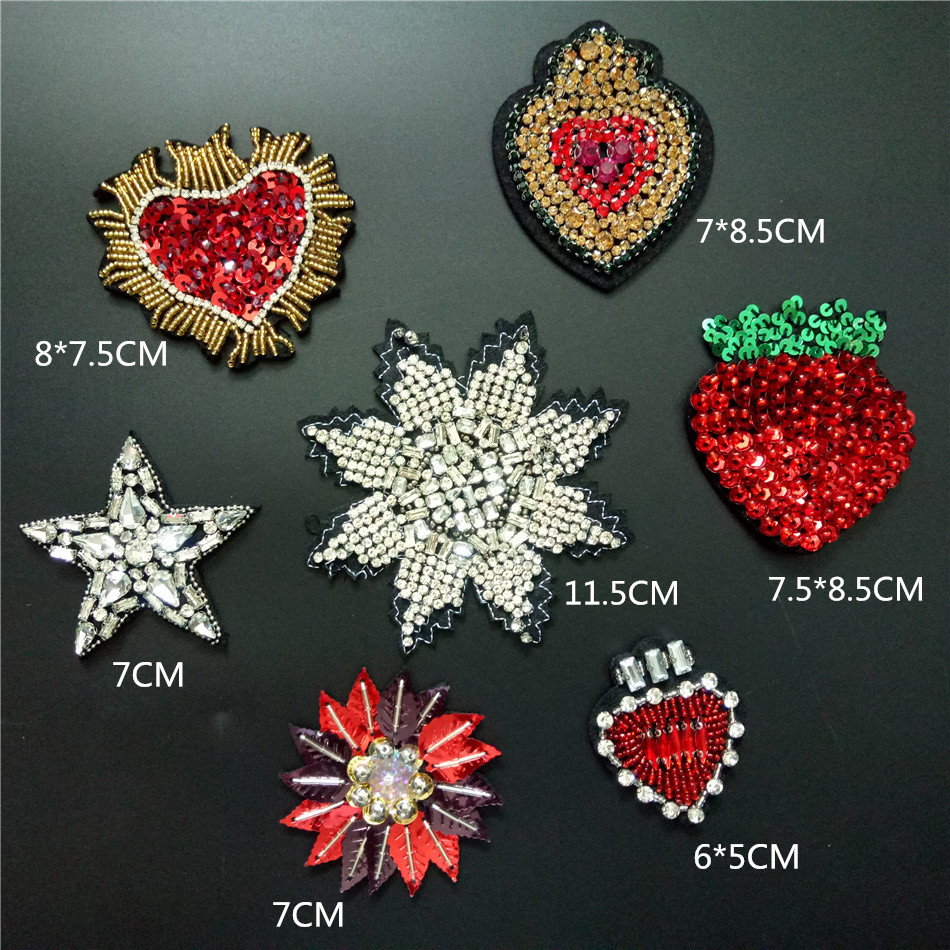 Iron-On Applique Glass Beads /& Sequins Sewing Fabric Craft Supply Embellishment