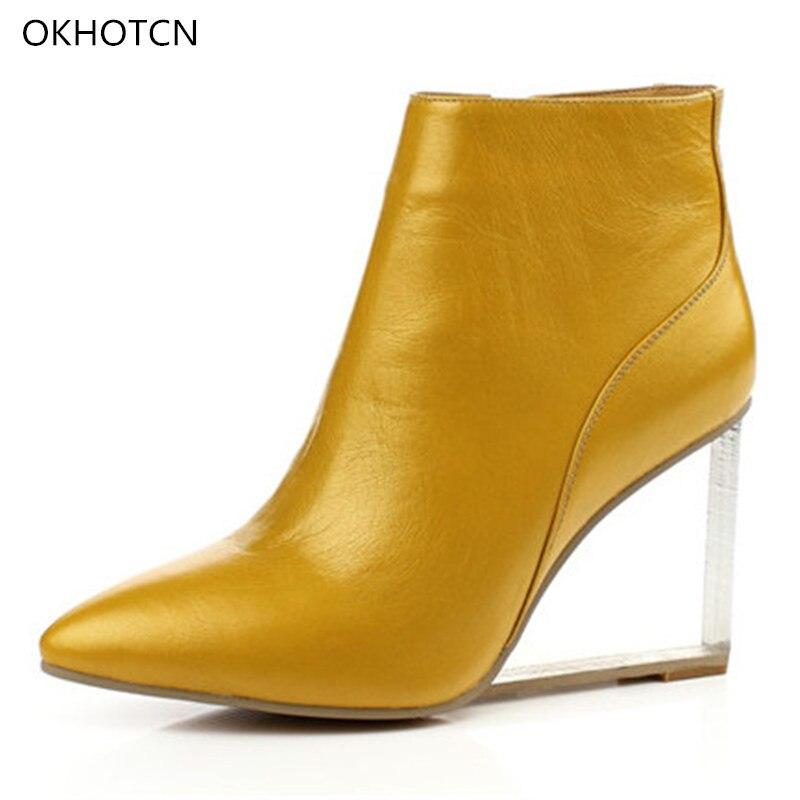 Cuero Botas Llegada Nueva Transparentes Pointed Show Cuñas Marca Side De Zapatos Tobillo as Zip Cristalinas Show As Mujer Tacón Real Mujeres Toe ddZqpxrw