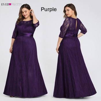 Elegant Plus Size Evening Dresses Long 2020 Ever Pretty EP08878GY A-line Lace Half Sleeve Grey Formal Party Gowns for Wedding 3