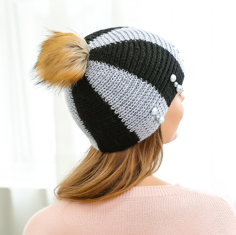 e05a4eb4beb Fur Ball Knit Hats For Women Wool Warm Caps Pearl Decoration Cable Knit  Slouchy Trendy Autumn Winter Beanie Soft Warm Ski Hats-in Skullies   Beanies  from ...