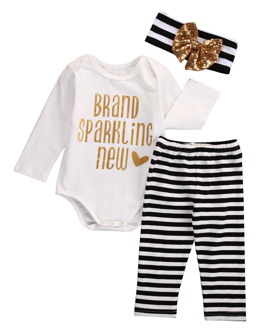 Whole Sale 3PCS Set!!Newborn Kids Baby Girls Long Sleeve Letter Romper +Long Stripe Pants+Bow Headband