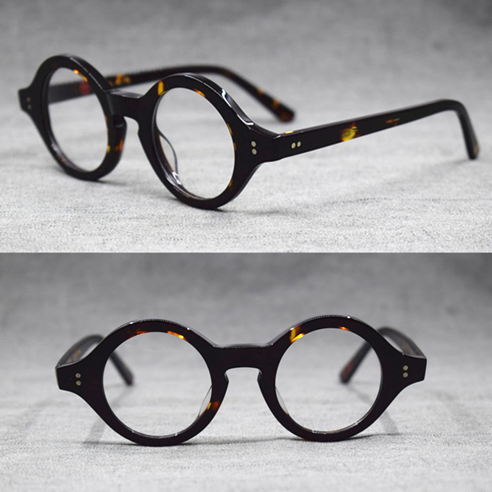 Hand Made Vintage Small 38mm Round Eyeglass Frames Acetate Unisex Optic Myopia Rx Able Glasses