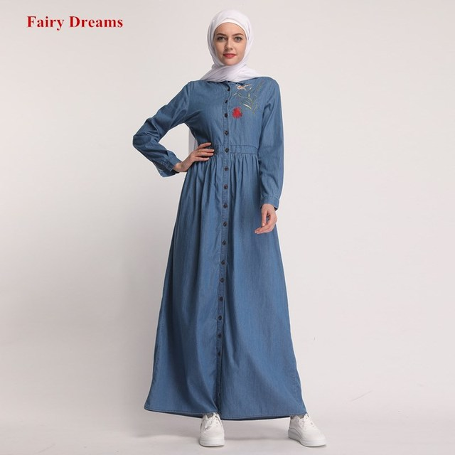 Для женщин Абая, для мусульман платье кафтан турецкий мусульманская одежда для Дубай Костюмы с длинными рукавами джинсовая рубашка макси платья одежда с вышивкой Фея мечты