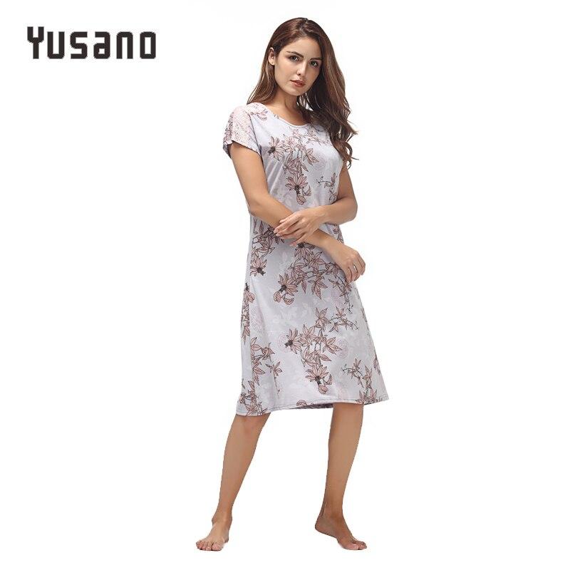 Image 4 - Yusano Women Nightgown Cotton Nighty Lace Nightshirt Short Sleeve Nightdress O Neck Homeweara Clothes Flora Print Sleep Dress-in Nightgowns & Sleepshirts from Underwear & Sleepwears