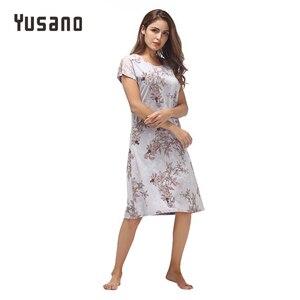 Image 4 - Yusano Women Nightgown ผ้าฝ้าย Nighty ลูกไม้ชุดนอน Nightdress แขนสั้น O Neck Homeweara เสื้อผ้า Flora พิมพ์ Sleep ชุด