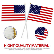 50 Pcs American Stick Flag Hand-Cranked Handheld Mini World Cup Flags For Sports Cheering 14x21cm