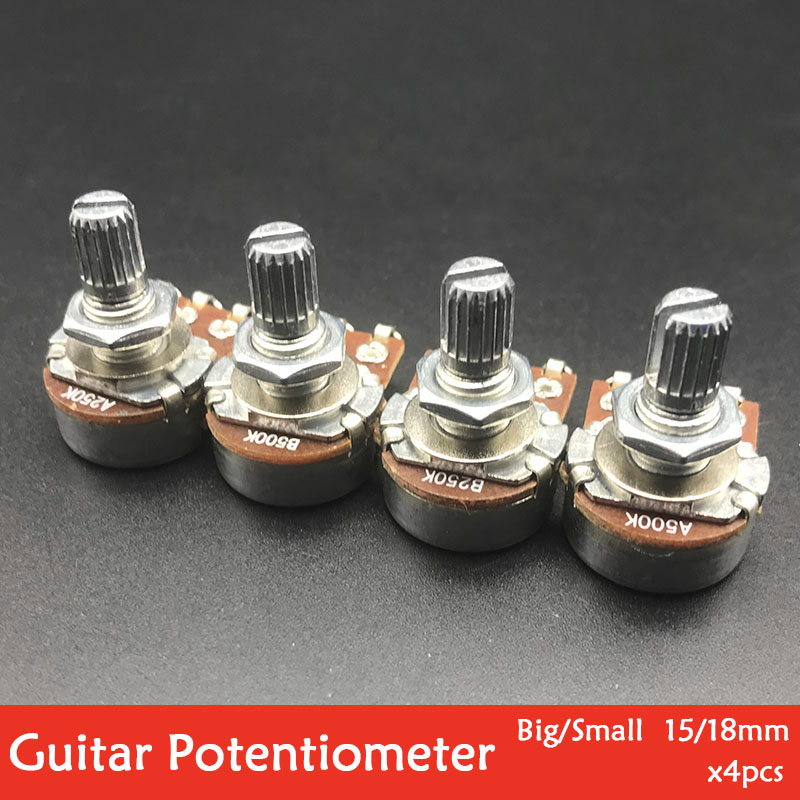 4pcs 15/18mm Shaft Electric Guitar Potentiometers Pots Volume Tone Control Pots A250K B250K A500K B500K Small/Big Pot