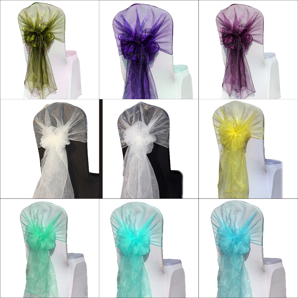 wedding favor purple color 50pcs/lot wedding chair sash( 65cm*275cm) organza fabric wedding decoration bodas-in Sashes from Home & Garden on ...