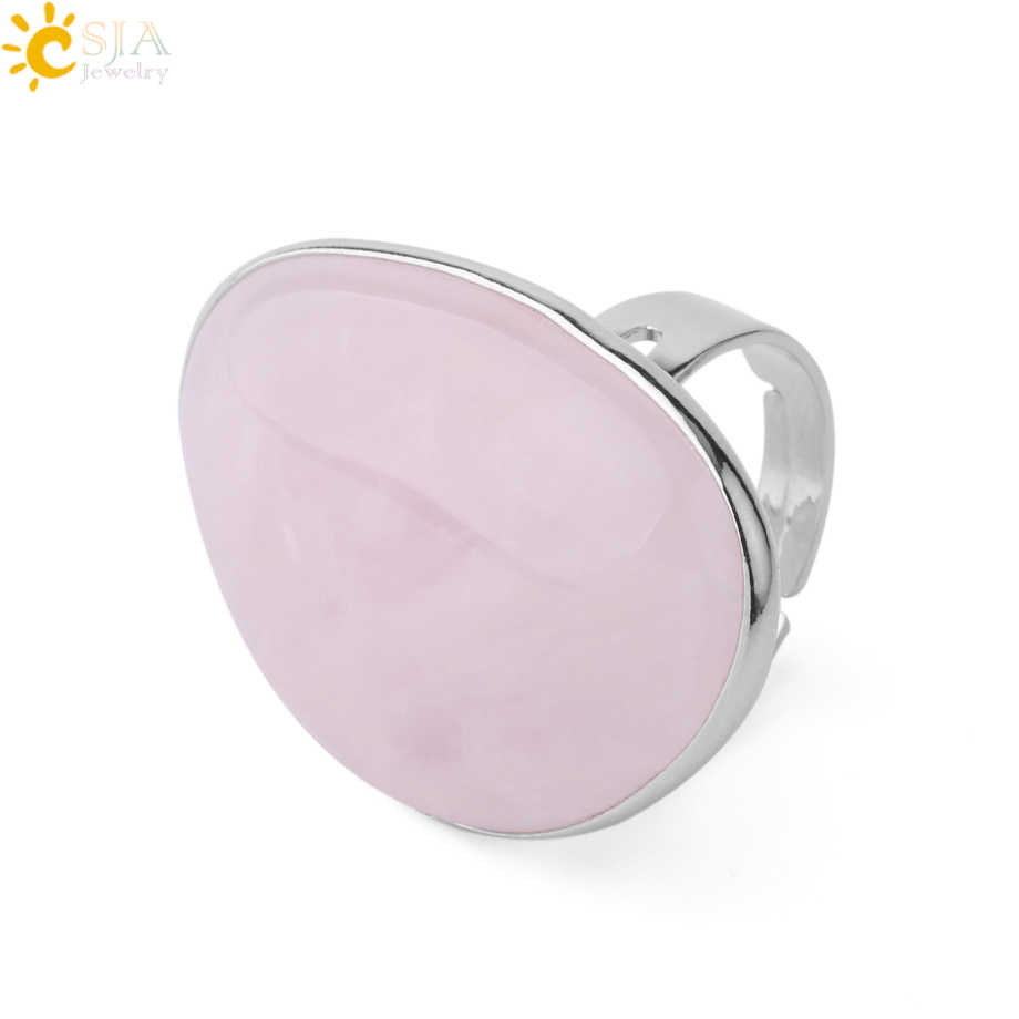 CSJA Reiki คริสตัลสีชมพูควอตซ์แหวนสำหรับหญิงหญิงธรรมชาติหินเงินสีแหวนแฟชั่นเครื่องประดับของขวัญ F847