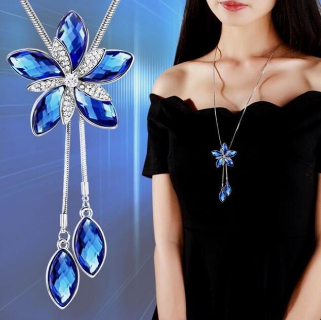 Brand Brand Five petal Flower Symmetrical Symmetrical Sweater Chain Necklace Pendant Crystal Wild Jewelry For Women Gift in Pendant Necklaces from Jewelry Accessories