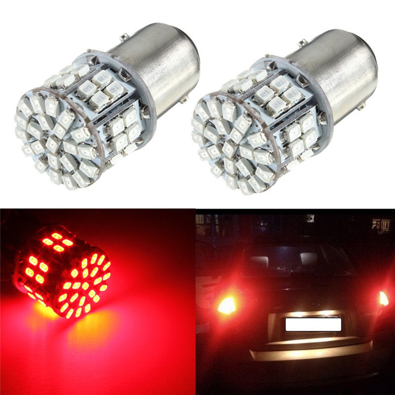 2Pcs Set 12V Car Brake Lamp 1157 BAY15D Tail Light 50-SMD LED Red Stop Bulb