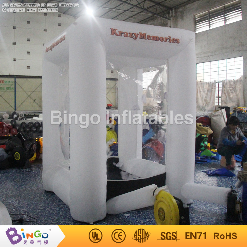 white promotional Inflatable cash grab cube box 2 meters high inflatable game for advertising promotion 1.5*1.5*2mH BG-A0957 toy inflatable cube helium advertising balloon with 6 sides digital printing logo for advertisement