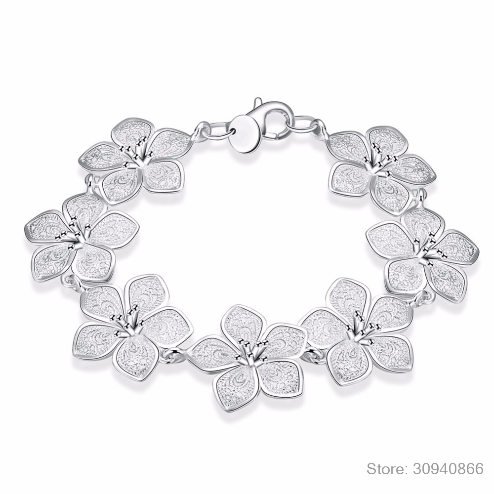 LEKANI hot sale 925 Sterling Silver Plum bracelet beautiful flowers for women classic high- quality fine jewelry 3