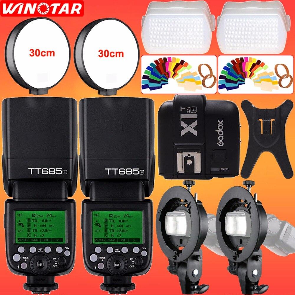 купить 2X Godox TT685F 2.4G HSS TTL Camera Flash + X1T-F Trigger + Bowens Bracket for Fujifilm X-Pro2/X-T10/X-T20/X-T2 X-T1/X100F X100T онлайн