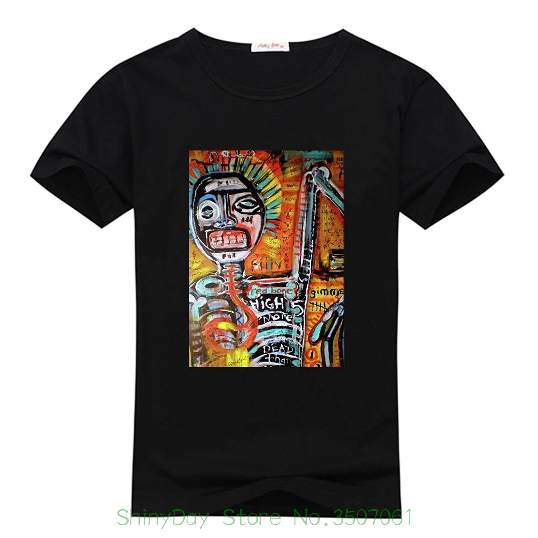 100% Cotton Diytshirt Jean Michel Basquiat T-shirt , Custom Mens Classic 100% Cotton T-shirt With Jean Michel Basquiat