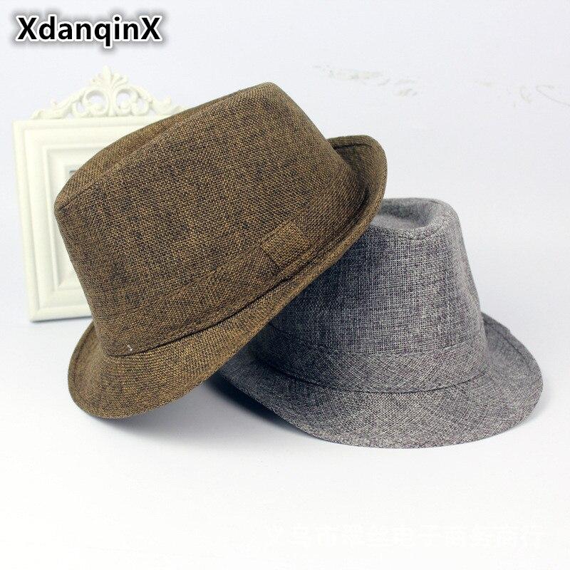 Pánské čepice XdanqinX Summer Western New Style Retro Fedoras pro muže Neformální Móda Vícebarevná Volitelné Pevné Daddy's Jazz Hat