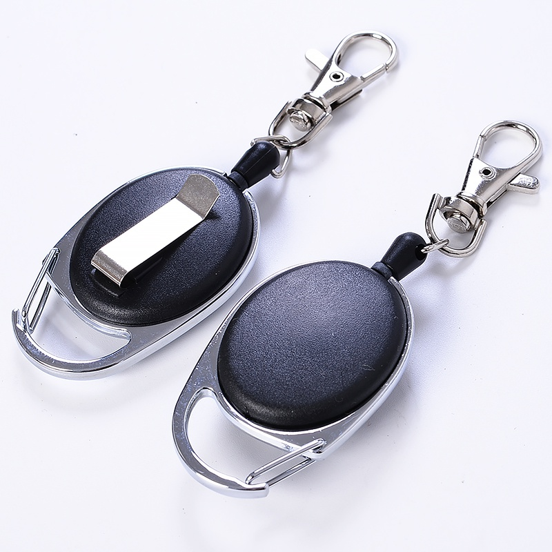 New Retractable Keychain Carabiner Oval Shape ABS Zinc Alloy Anti-lost Steel Rope Buckled Clip Ring Outdoor Climbing Tool