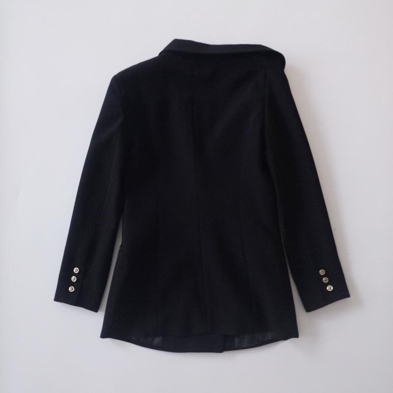 Tempérament Nouvelle 2018 À Veste Manteau Mode Col Slim Haute Boutonnage Qualité Irrégulière Femme Longues Noir Manches Double Diamants xE5AqW60wW