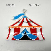 39x39mm  Zinc alloy Enamel  tent Pendants in silver for Jewelry Necklace making (Accept custom style) 50PCS RMP023