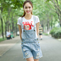 Star with money spring new Women Korean models worn loose love strap hole jeans shorts overalls