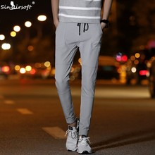 Mens Harlan Casual Pencil Pants Skinny Drawstring Waist Ankle-Length Summer Trousers Male Breathable Streetwear Clothing New
