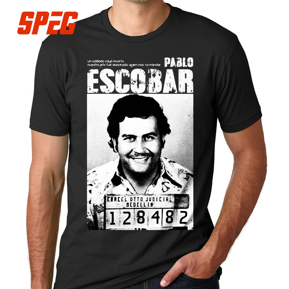 Pablo Escobar   T     Shirt   Weed Mafia Scareface Luciano Capon Men 100% Cotton Tees Plus Size Short Sleeve   T  -  Shirt