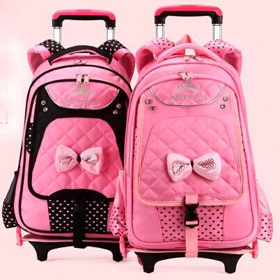 ФОТО child backpack casual Trolley Luggage children teenage student school bag Mochila Bolsas with wheels for girls