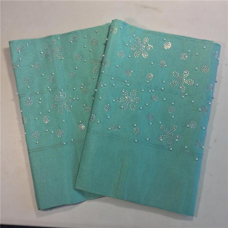 Tissu africain Aso Oke Gele pour épaule de tête nigéria emballage de cravate AsoOke avec des pierres et des perles Aqua aso oke avec des perles
