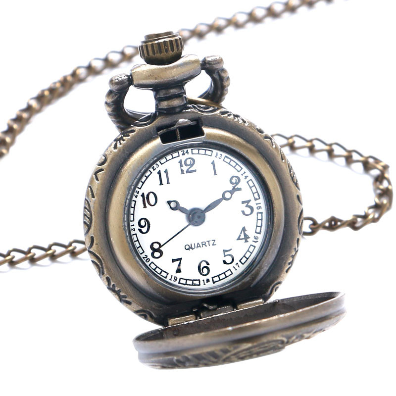 Antique Small Pocket Watch Delicate Train Steam Locomotive 3D Carving Slim Necklace Mini Clock Special Gifts for Children Boys (2)