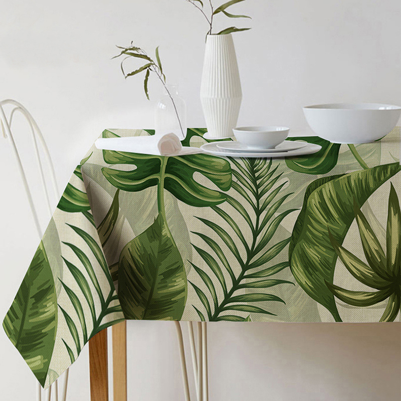 Nordic Modern Linen Cotton Square Green Leaf Tablecloth