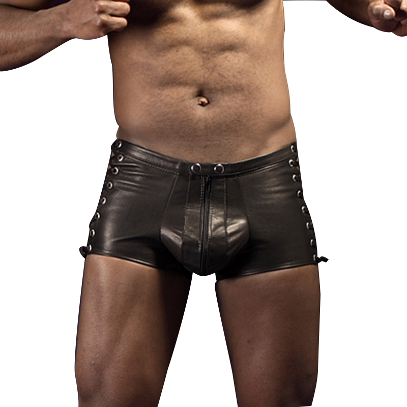 Casual Shorts Sexy Leather Boxer Men Shorts Trunk Lingerie Homme Open Crotch Breeches Sex Gay Jockstrap Exotic Male Black Wetlook Boxershort