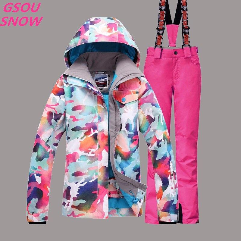 Gsou Snow haute qualité pour les femmes veste de Ski en plein air hiver combinaison de Ski pour les femmes imperméable coupe-vent Snowboard manteau + pantalon