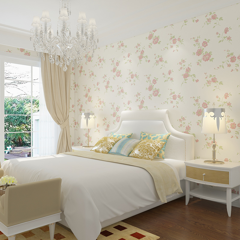 Купить с кэшбэком Modern Romantic Garden Flower Wallpaper Bedroom Living Room TV Sofa Background Decorated Wall Paper Roll